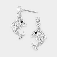 Crystal Accented Dolphin Drop Earrings