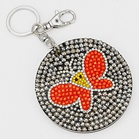 Crystal Pave Butterfly Round Compact Mirror