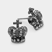 Pave Crown Stud Earrings
