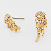 Crystal Accented Wing Stud Earrings