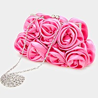 Satin rose flower clasp evening bag
