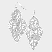 Metal Leaf Cluster Earrings