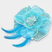 Mesh flower & feather brooch / hair barrette