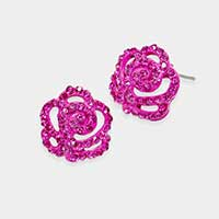 Crystal Pave Flower Stud Earrings
