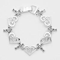 Filigree Heart Cross Magnetic Bracelet
