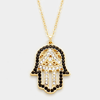 Hamsa Hand of fatima Crystal Bead accented Pendant Necklace