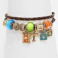 Camera & Airplane Charm Travel Multi Bead Bracelet / Necklace
