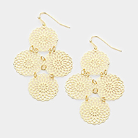 Floral Disc Dangle Earrings