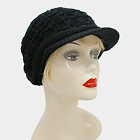 Knit visor hat