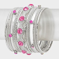 15 PCS - crystal embellished metal stack bracelet