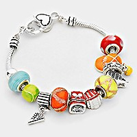 Multi-bead bracelet with sneaker charm