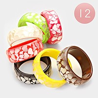 12 PCS - Heart cluster bangle bracelets