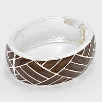 Lattice Enamel Hinged Bangle Bracelet