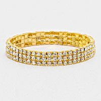 3-Row Rhinestone Stretch Bracelet