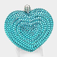 Crystal heart evening clutch bag with strap _ reduced price