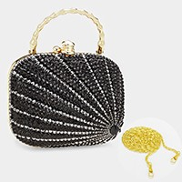 Patterned crystal rhinestone hard case clutch bag_REDUCED PRICE