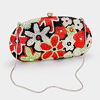 Floral crystal hard case evening clutch bag _ reduced price