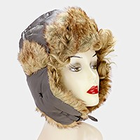 Fur lined aviator hat
