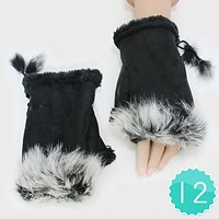 12-Pairs Fleece Lined Fur Trim Fingerless Gloves