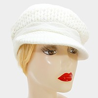 Rabbit fur mixed knit visor hat