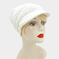 Knit visor hat with pom pom