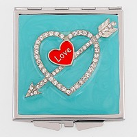 Crystal Cupid Arrow Heart Compact Mirror with Pouch