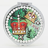 Studded Crown Compact Mirror