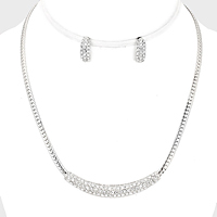Crystal Rhinestone Pave Bar Necklace