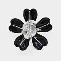 Prong Set Lacquered Enamel Heart Clover Ring