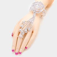 Rhinestone rose evening hand chain bracelet