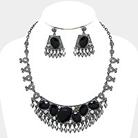 Oval crystal rhinestone cluster evening necklace