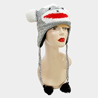 Knit tassel drop penguin earcuff hat