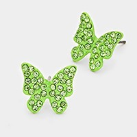 Rhinestone pave butterfly stud earrings
