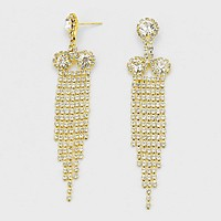 Crystal Rhinestone Fringe Drop Evening Earrings