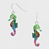 Colorful Sea Horse Drop Earrings