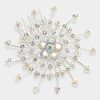 Crystal rhinestone flower bubble hair comb stick