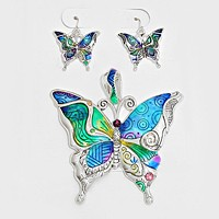 Colorful Butterfly Pendant Set