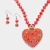 Crystal Disco Ball Heart Beaded Necklace