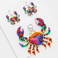 Colorful crab pendant set