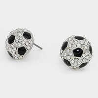 Crystal Enamel Soccer Stud Earrings