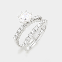 2 Layers Prong Set CZ Double Ring