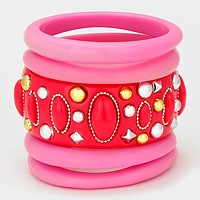 5-LAYERS BUBBLE BANGLE BRACELET SET