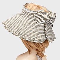 Bow Accented Paper Foldable Visor Hat