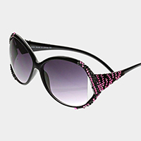 Zebra pattern crystal detail oversized sunglasses