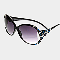 Leopard pattern crystal detail oversized sunglasses