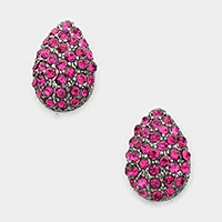 Rhinestone pave droplet stud earrings