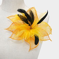 Feather Flower Corsage Brooch / Hair Clip