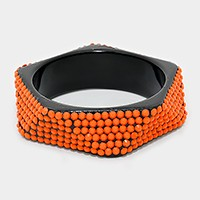 Bead studded geometric bangle bracelet