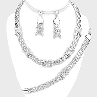 3-PCS Crossed Rhinestone Necklace Jewelry Set