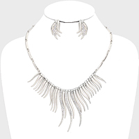 Wavy Bar Drop Rhinestone Bib Necklace